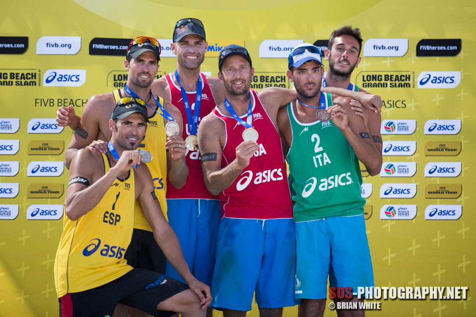 Paolo Nicolai and Daniele Lupo at 2013 FIVB Long Beach Grand Slam medal ceremony