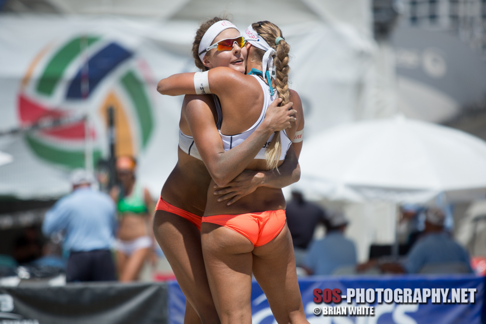 Natalia Dubovcova and Dominika Nestarcova at 2014 FIVB Long Beach Grand Slam