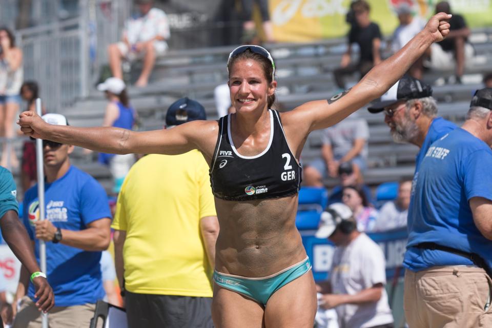 Chantal Laboureur (Germany) celebrates winning bronze medal