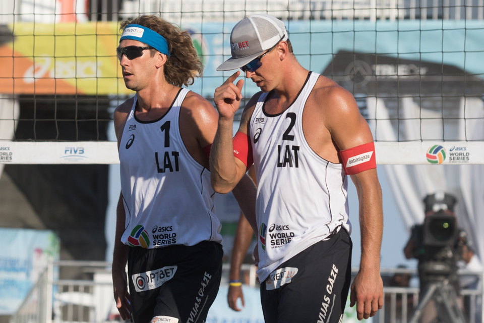 Aleksandrs Samoilovs and Janis Smedins at 2016 FIVB Long Beach Grand Slam