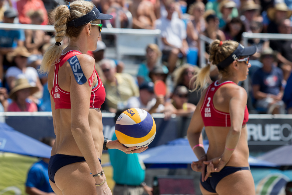 Kerri Walsh Jennings and April Ross at 2016 FIVB Long Beach Grand Slam
