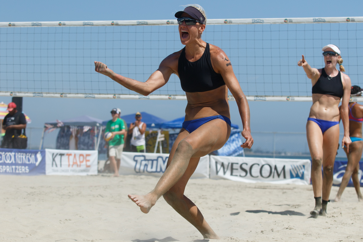 Brittany Hochevar and Emily Day (USA) celebrate a point